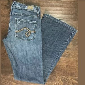 See Thru Soul Dino Flare Distressed Jeans